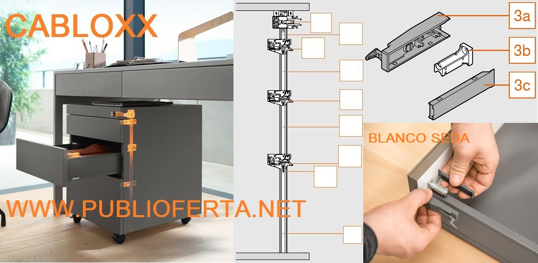 Blum Set pieza frontal CABLOX Blanco Seda mate.