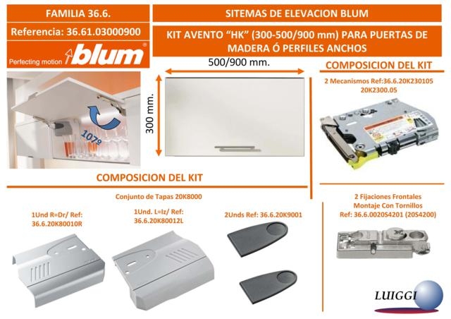 Blum Set HK-25 TIP-ON-(F.R.750-2500)-P/A